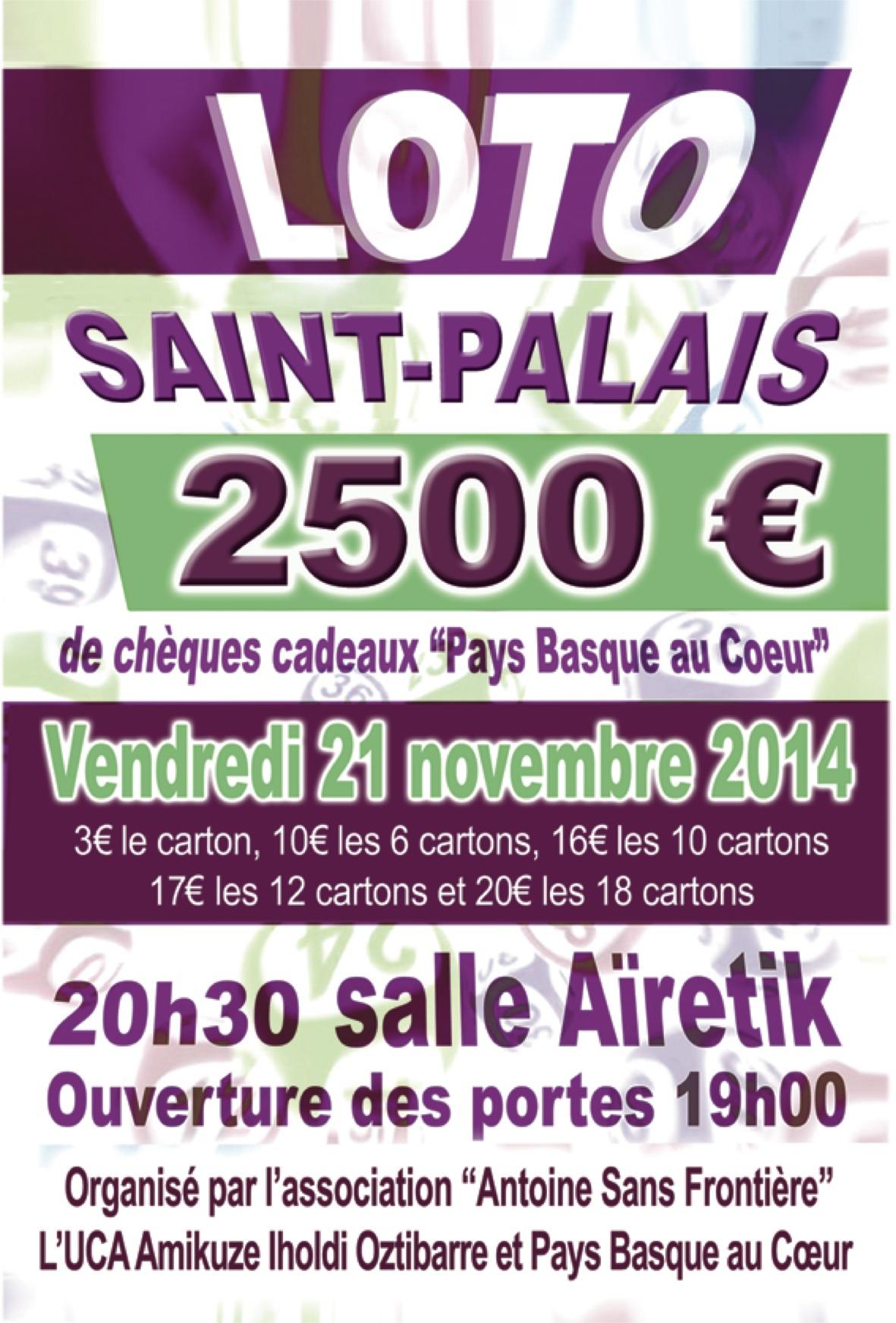 affiche loto 2014 St Palais